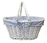Weiß Gefüttert Weidenkorb mit Griffen Blau Gingham Spielzeug Lagerung oder Einkaufs-und Gartenarbeit