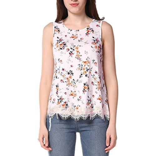 Tops Femme Toamen Imprimé floral Gilet sans manches croisé Chemisier T-shirts Beau Mode (S, A)