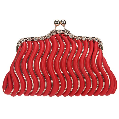 Bonjanvye Kiss Lock Sequins Crystal Purses and Handbags for Women Bags Pu Bag Red (Lock Handbag Kiss)