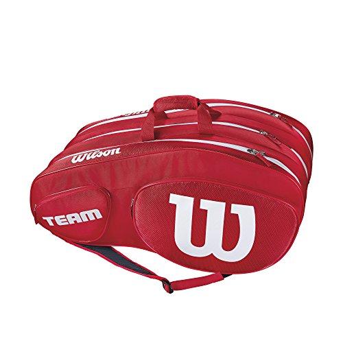 Wilson Damen/Herren Tennis-Tasche, für Profispieler, Team III 12 PK, Einheitsgröße, rot/weiß, WRZ857812