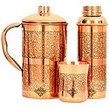 IndianArtVilla Embossed Designed Copper Jug Pitcher With Glass Tumbler & Bottle, Drinkware & Serveware Set, 3 Pieces