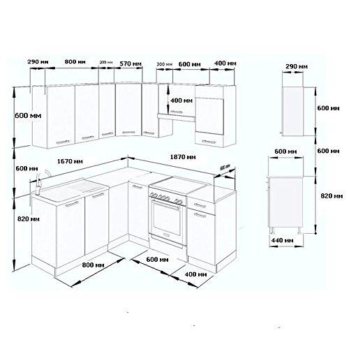 winkelk che k chenzeile 190 x 170 cm sonoma eiche k che l form k chenblock einbauk che. Black Bedroom Furniture Sets. Home Design Ideas