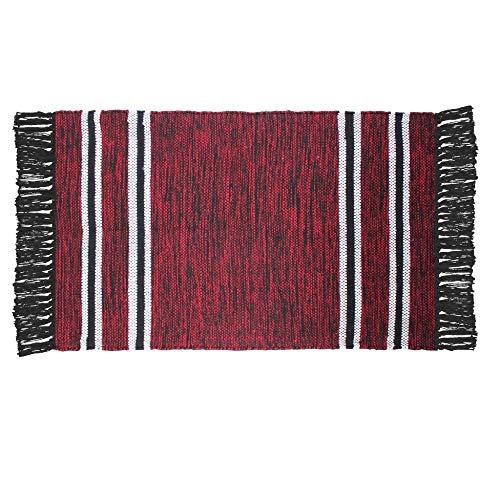 CDaffaires Tapis Rectangle 50 x 80 cm Coton Jacquard matcho Rouge