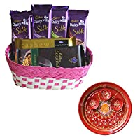 SFU E Com Holi Chocolate Basket Hamper   Holi Special Chocolate Gift   Premium Chocolate Hamper   Holi Pooja Thali   Pack of Chocolate Box-1   207
