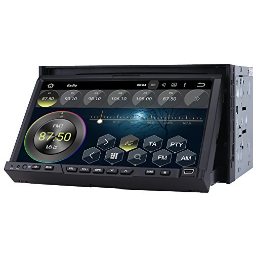 PUMPKIN 2 Din Autoradio DVD Player Moniceiver 7 Zoll Android 5.1 mit GPS Navigation 1024* 600 einstellbaren Winkel Touchscrenn unterstützt DAB+ Bluetooth Lenkradfernbedienung Wifi 3G