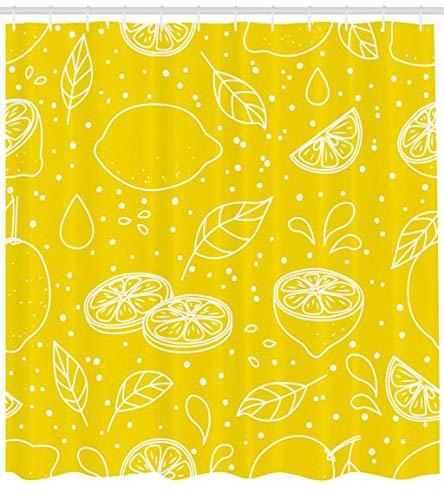 ABAKUHAUS Gelb und Weiß Duschvorhang, Juicy Zitronen, Personenspezifisch Druck inkl.12 Haken Farbfest Dekorative mit Klaren Farben, 175 x 200 cm, Gelb Weiß (Zitrone Gelb Duschvorhang)