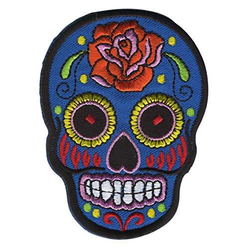 Freak Scene Aufnäher - Totenkopf Mexico mit Rose - blau-orange - Patch