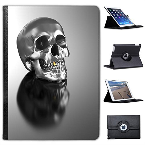 Skulls-Custodia in finta pelle con funzione di supporto per Apple iPad, modelli nero Chrome Skull With Gold Tooth iPad