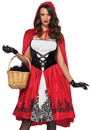 LEG AVENUE 85614 - Kostüm Set Klassische Rotkäppchen, Damen Fasching, L, - Einen Red Riding Hood Kostüm