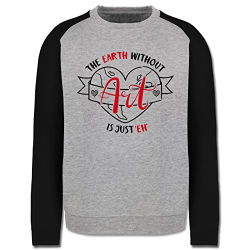 Statement Shirts - The earth without Art is just eh - Herren Baseball Pullover Grau Meliert/Schwarz