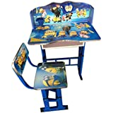 KRIS TOY Wooden Minion Print Study Table and Chair for Boys and Girls
