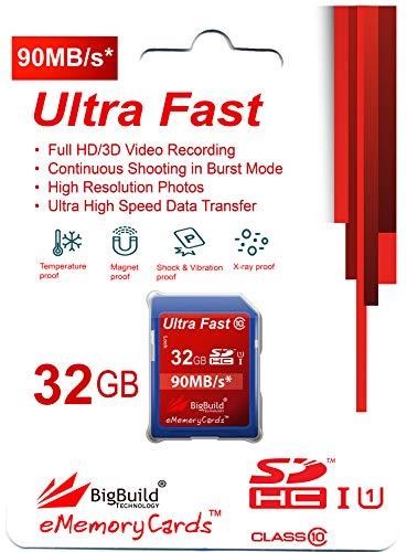 32GB Ultra schnelle 90MB/s Speicherkarte für JVC GZ R300 T, R470 G, RY980HEU Camcorder | Klasse 10 SDHC | BigBuild Technology