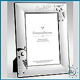 Albalù Italia | Idee regalo e bomboniere PORTAFOTO in Argento Laminato GUFETTI con Retro in Velluto Misura Interna 13X18 cm - Esterna 19X24 cm