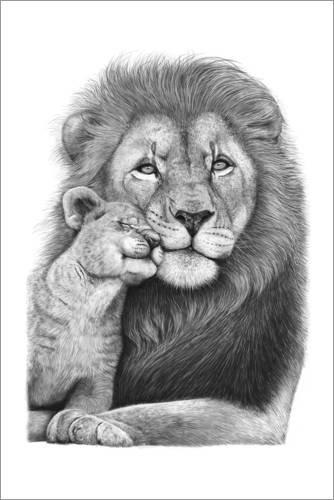 Posterlounge Acrylglasbild 40 x 60 cm: Löwe mit Löwenbaby von Valeriya Korenkova - Wandbild, Acryl Glasbild, Druck auf Acryl Glas Bild