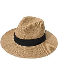 DRESHOW Mujeres Sombrero de Panamá Sombreros de Paja Sombrero de Verano Sombrero de Playa Fedora Sombrero de ala Ancha Sombrero de Paja UPF 50+