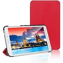 JETech® Gold Slim Fit Galaxy Tab 4 7.0 Funda de PC Cuero Carcasa con Frente/Atrás Protección y Stand Función para Samsung Galaxy Tab 4 7 pulgadas Case Cover (Rojo)