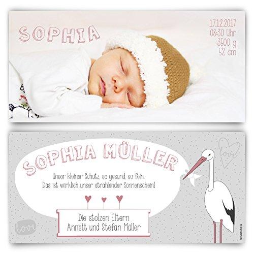 Geburtskarten (20 Stück) - Storch - Geburt Babykarten Mädchen Junge Foto Karten