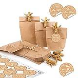 Verpackung Gastgeschenk HIRSCH Klammer + SCHÖN DASS DU DA BIST AUFKLEBER beige weiß + 24 Mini-Papiertüte 15 x 9 x 3,5 cm - Geschenk-Klammer + natur braune Tüten aus Papier