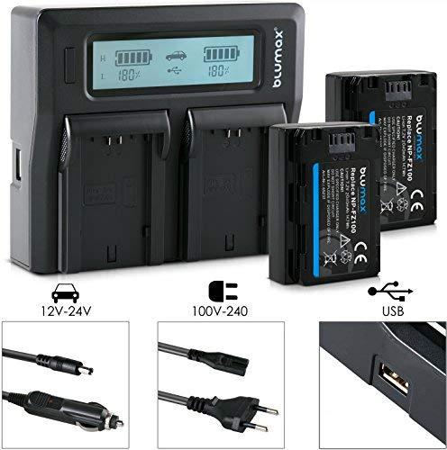 Blumax 2X Akku ersetzt Sony NP-FZ100 2040mAh + Doppel-Ladegerät Dual Charger   100% kompatibel mit neuster Firmware Sony Alpha 7 III/Alpha 7R III/Alpha 9    KFZ 2 Akkus gleichzeitig Laden