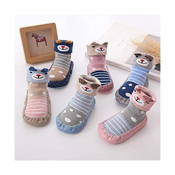 MAYOGO Niños Calcetines Antideslizantes con Suela de Goma Anti-slip Zapatos de Primer Paso para Bebés Zapatillas de Casa… 2