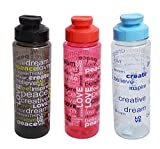 #9: Livzing 750ml Printed Water Bottle Wide Mouth Leak-Proof Lid Fast Flow Flip Top Reusable High Quality Drinking Container – 3 Pack – Assorted Color