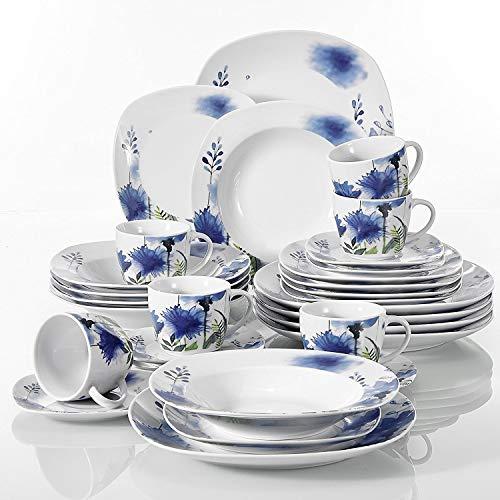 Veweet LAURA 30pcs Service de Table Porcelaine 6pcs Assiette Plate/Assiette à Dessert/Assiette Creuse/Tasse avec Soucoupes pour 6 Personnes Vaisselles Céramique Design Moderne Fleuri