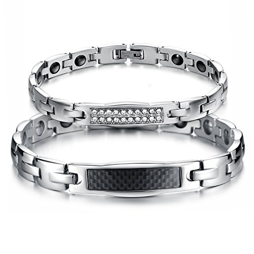 JewelryWe Schmuck 2pcs Partner Magnetarmband, Lieben Freundschaftsarmband, Magnet Armband aus Edelstahl Zirkonia Kohlenstoff Faser, Schwarz Silber, kostenlos Gravur (Kohlenstoff-faser-buchstaben)