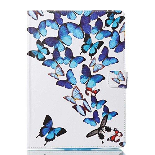 iPad 9.7 2018 / 2017 Hülle, Conber Ultra Dünn und Licht Leder Intelligent Handyhülle mit [Auto Schlaf / Wach Funktion] [Ständer Funktion] [Kartenfächer], iPad 9.7 2018 / 2017 Tablet PC Leder Schutztasche Klappetui Ledertasche Handyhülle, Farbiges Ölgemälde Stil Muster Leder Handy Schutzhülle für Apple iPad 9.7 Zoll (iPad 5, iPad 6) - Blauer Schmetterling