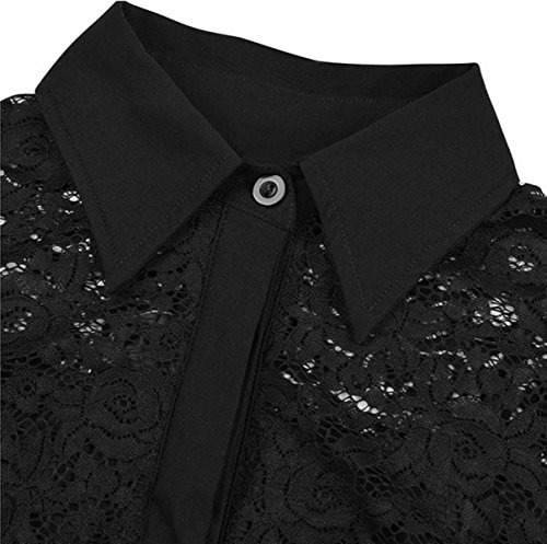 YOGLY Femmes Dentelle Manches 3/4 Swing Retro Robe de Soirée Noir