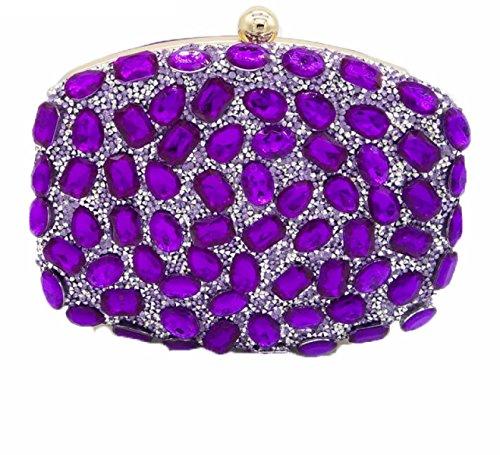 Nuove Signore Borse Signore Diamanti Borse Colore Strass Foratura A Caldo Borse Da Sera Mini Banchetto Borse Purple