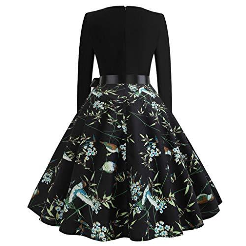 NEEDRA Strickkleid Gemustert - Wickelkleid in Cache Coeur Schnitt - Kleid Damen elegant mit Oberteil in Wickeloptik - Damenkleid mit Print-Muster