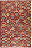 Nain Trading Kelim Afghan 301x208 Orientteppich Teppich Orange/Rot Handgewebt Afghanistan