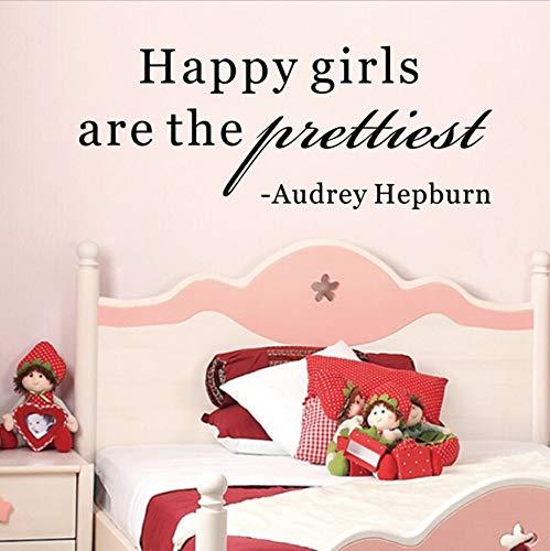 er Audrey Hepburn Zitat Happy Girls abnehmbare PVC Aufkleber für Mädchen Zimmer Wand Dekor 83X30Cmwall Aufkleber ()