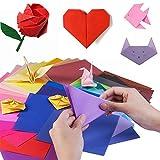 YIQI 400 Fogli di Carta Origami Fronte-Retro in 10 Colori Vivaci Assortiti Specifica in 4 Dimensioni 100 Pezzi Occhi gocciolanti