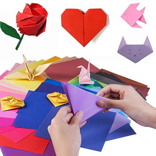 YIQI 400 Blatt doppelseitiges Origami Papier in 10 lebhaften Farben, 4 Größen Spezifikation und 100 PCS Wiggle Googly Eyes