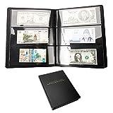 Librao 60pochettes papier l'argent Collection Cuir Ticket Album Collect livre billet de devises de stockage de supports de Cash...