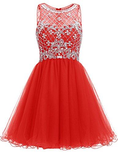 Dresstells Damen Kurz Tüll Homecoming Kleider Cocktail-Kleider Rot