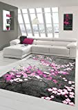Designer Teppich Moderner Teppich Wohnzimmer Teppich Blumenmuster Grau Lila Pink Weiss Rosa Größe 200 x 290 cm