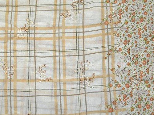 bestickt Grenze Print Baumwolle & Seide Kleid Stoff, orange, Meterware - Baumwolle-seide Voile