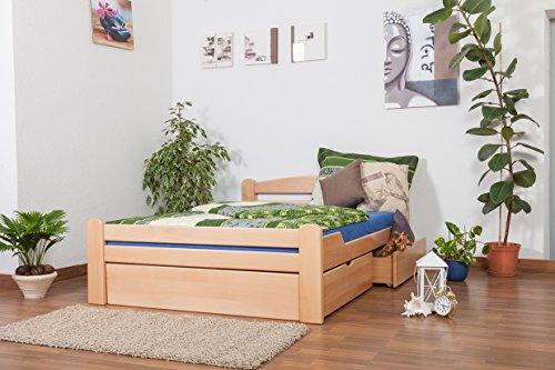 """Einzelbett/Funktionsbett""""Easy Premium Line"""" K4, inkl. 2 Schubladen und 1 Abdeckblende, 140 x 200 cm Buche Vollholz massiv Natur"""
