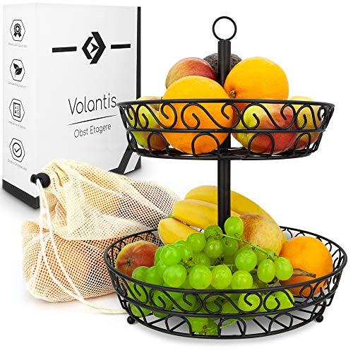VOLANTIS ® Obstkorb - dekorative Etagere für die Aufbewahrung von Obst und Gemüse - mehr Vitamine im Alltag - inklusive wiederverwendbaren Obstbeuteln zum Einkaufen