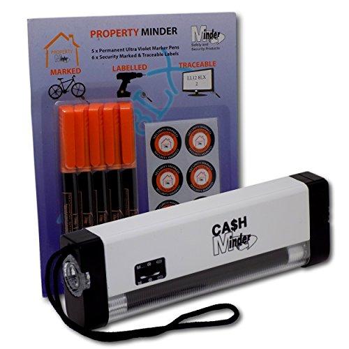 Tragbares Hand-UV-Schwarzlicht von Eposgear, Sicherheitslampe, Set zum Markieren und Erkennen Ihres Eigentums mit Weißlicht-Taschenlampe und Stift mit unsichtbarer UV-Tinte Lamp with 5 Pens weiß