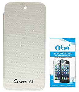TBZ Flip Cover Case for Micromax Canvas A1 Android One with Tempered Screen Guard -White