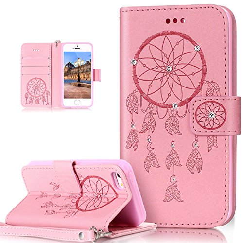 Custodia iPhone SE, iPhone 5S Cover, ikasus® iPhone SE/iPhone 5S Custodia Cover [PU Leather] [Shock-Absorption] Goffratura Embossing Floreale Fiore Cranio Campanula Modello Protettiva Custodia Cover c Campanula rosa
