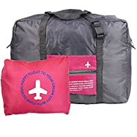 MABELER Waterproof Foldaway Storage/Duffel Bag For Travel,Camping,Large Capacity Lightweight Trolley/Tote Bag, Attach on the Handle of Suitcase (Pink)