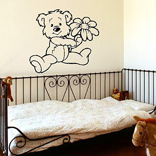 YuanMinglu Big Baby Bear Babypflegeraum Pflegezimmer Wandbild Transfer Schablonenkunst Applikation Schwarz 46x50cm