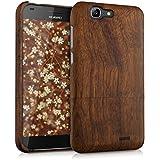 kwmobile Funda para Huawei Ascend G7 - Case protectora de madera palo de rosa - Carcasa dura marrón oscuro