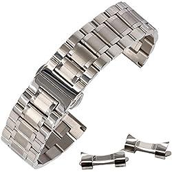 la correa del reloj de metal correa de reloj de acero inoxidable de plata ambiental 23mm calidad con hebilla de mariposa