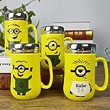 #3: SK-tm minion ceramic coffee mug with mirror lid gift for brother/rakhi gift/rakshabandhan gift idea/gift for sister /gift for any occasion/gift for friend (1 pc) RANDOM DESIGN-400 ml