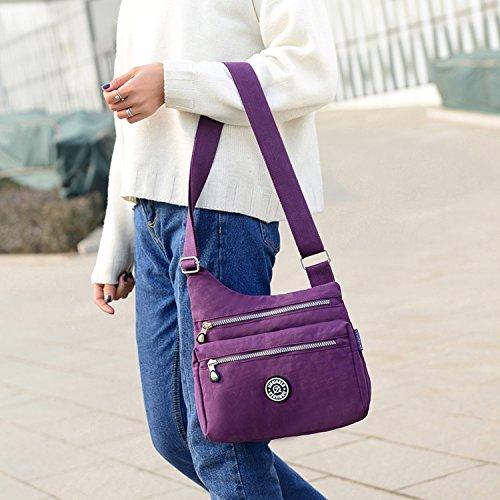Outreo Borsello Donna Borse a Spalla Leggero Borsa Tracolla Impermeabile Borse da Moda Sacchetto Ragazze Borsetta Casuale Sport Bag Rosso 3